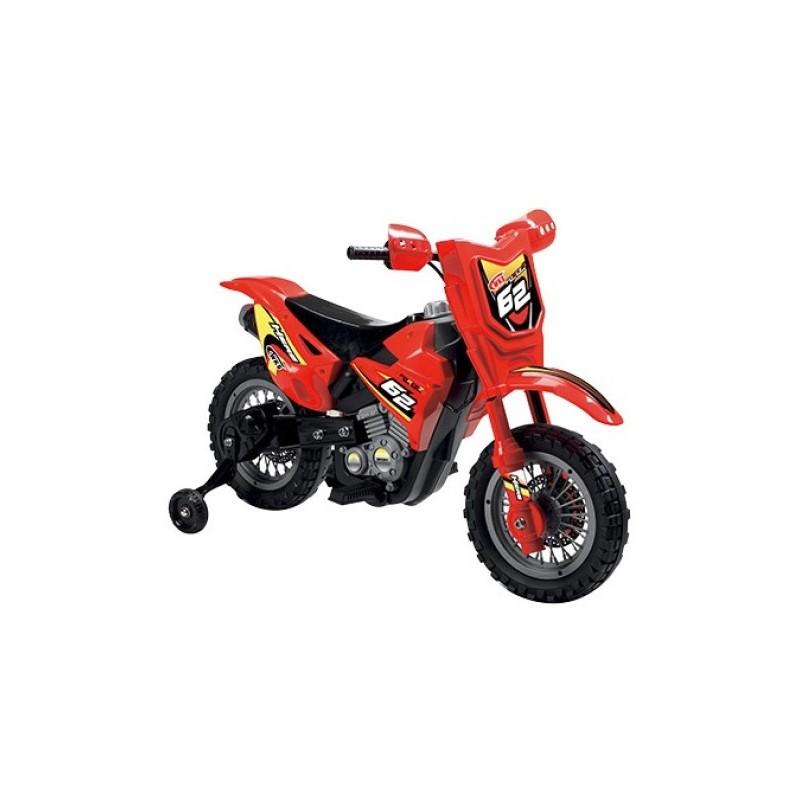 Motocicleta electrica pentru copii Enduro Motocross 6V rosie cu telecomanda control parinte