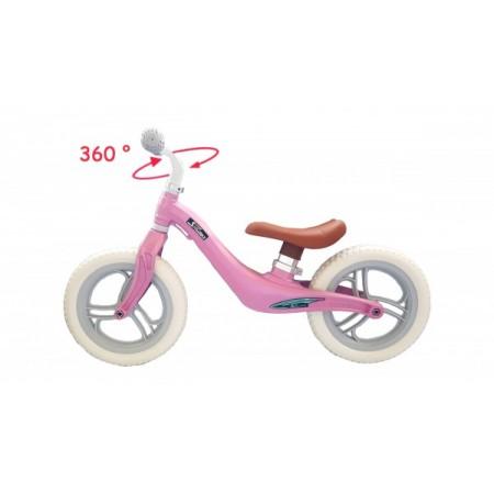 Bicicleta fara pedale 12 inch Roz foarte usoara 2kg inaltime reglabila roti EVA cadru magneziu