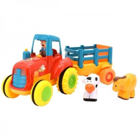Jucarie muzicala Tractor cu remorca Globo cu sunete si 3 figurine incluse
